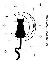 séance, long, chat, queue, noir, lune