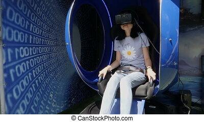séance, lunettes, réalité virtuelle, girl, chaise