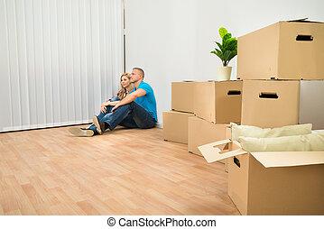 séance, maison, couple, plancher, jeune, nouveau
