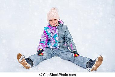 séance, neige, quoique, amusement, girl, avoir