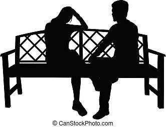 séance, noir, gens, silhouettes, banc