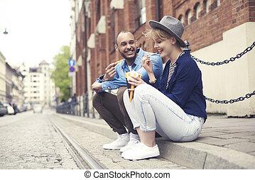 séance, nourriture, couple, jeûne, trottoir, avoir