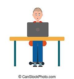 séance, ordinateur portable, adolescent, devant, table, chaise
