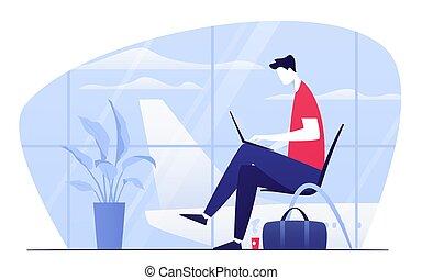séance, ordinateur portable, départ, illustration, jeune, salon, aéroport, vecteur, homme