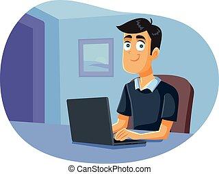 séance, ordinateur portable, fonctionnement, maison, homme
