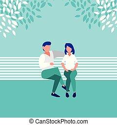 séance, parc, couple, caractère, avatar, chaise