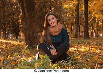 séance, parc, jeune, automne, girl, terrestre