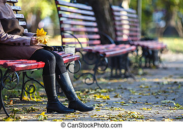 séance, parc, jeune, banc, automne, girl, jour