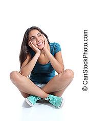 séance, pensée, obliquement, regarder, adolescent, girl