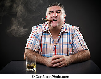 séance, quoique, mûrir, fumer,  table, boire,  mafia, homme