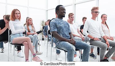 séance, salle conférence, groupe, jeunes, divers