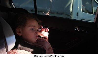 séance, siège enfant, petite fille, sécurité, chutes, joli, endormi