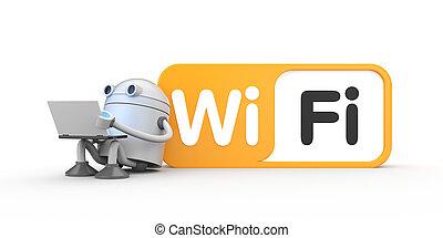 séance, signe., wifi, robot, illustration, ordinateur ...