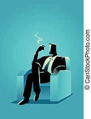 séance, sofa, confortable, cigarette, quoique, fumer, homme affaires