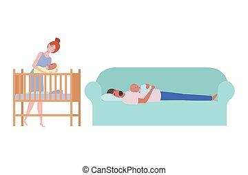 séance, sofa, couple, jeune, nouveau-né