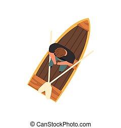 séance, sommet bois, bateau, illustration, vecteur, homme, vue