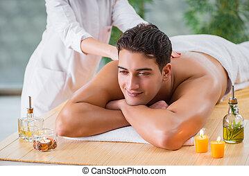 séance, spa, pendant, homme, masser, beau