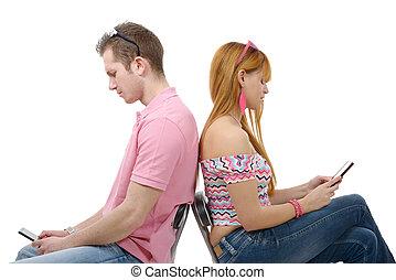 séance, téléphones mobiles, couple, jeune, dos, back., conversation
