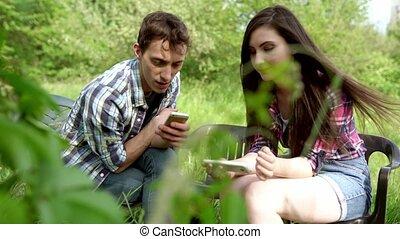 séance, téléphones, projection, deux, photos, amis