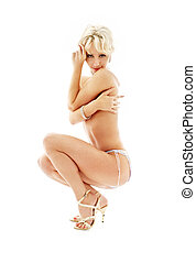 séance, topless, épingle-augmentez, blonds, dans, bleu, culotte