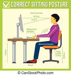 séance, vecteur, correct, posture., infographics