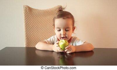 séance, vert, bouclé, pomme, peu, chaise, manger, girl,...