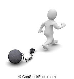 s'échapper, criminal., 3d, rendu, illustration, isolé, sur,...