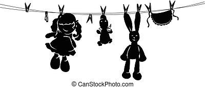 sécher, lavage, après, corde, jouets, silhouette