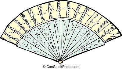 século, 18th, ventilador, mão