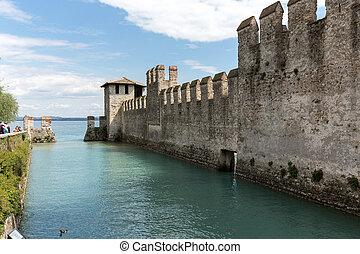 século, construído, di, sirmione, garda, sirmione, lago,...
