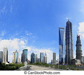 século,  Shanghai,  Pudong, cena, rua, avenida
