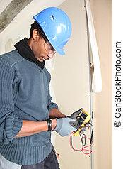 sécurité, électricien, conscient