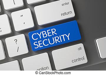 sécurité, 3d., cyber, button.