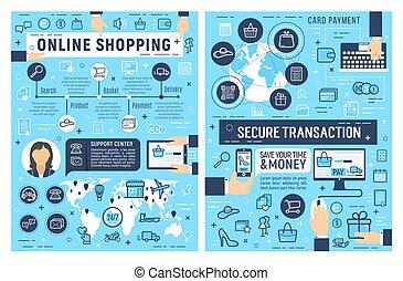 sécurité, achats, paiement, carte, ligne
