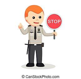 sécurité, arrêt, officier, signe