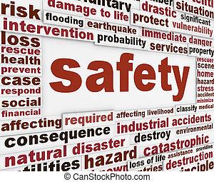 sécurité, avertissement, message, fond