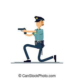 sécurité, blanc, femme-agent, debout, isolé, public, officier, actif, uniforme, vecteur, concept, character., femme, illustration, arrière-plan., caractères, poses., policier