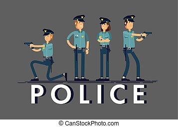 sécurité, blanc, officier, character., caractères, uniforme, mâle, différent, ensemble, debout, isolé, vecteur, concept, femme, illustration, arrière-plan., public, poses., policier