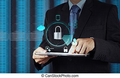 sécurité, business, homme affaires, toucher, internet, pointage, informatique, cadenas, écran, ligne, main, concept