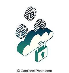 sécurité, calculer, réseau, nuage, bitcoin