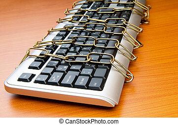 sécurité, clavier, chaîne, informatique, concept