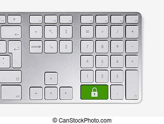sécurité, concept, clavier