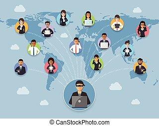 sécurité, concept, cyber, crime