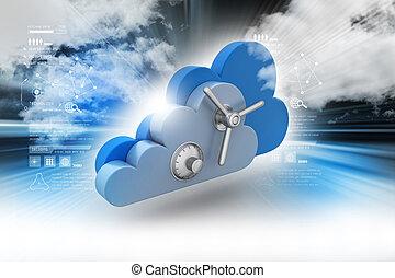 sécurité, concept, données, nuage, calculer