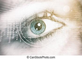 sécurité, concept, humain, eye.
