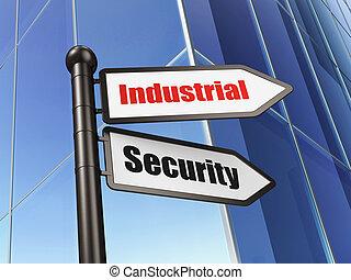 sécurité, concept:, industriel, sécurité, sur, bâtiment, fond