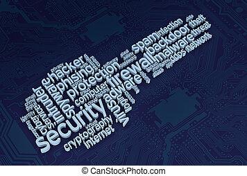 sécurité, concept, informatique