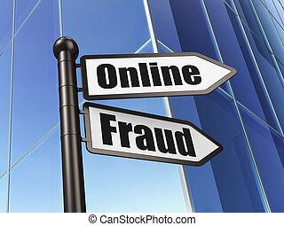 sécurité, concept:, ligne, fraude, sur, bâtiment, fond