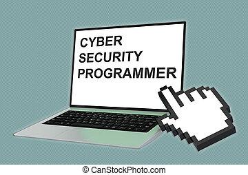sécurité, concept, programmeur, cyber