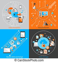 sécurité, concept, protection données